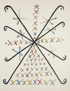 Letter X - Hand-Colored Lithograph by Raphael Alberti - 1972