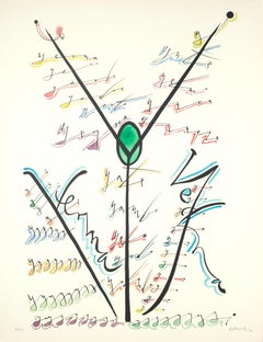Letter Y - Hand-Colored Lithograph by Raphael Alberti - 1972
