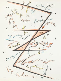Letter Z Orange - Hand-Colored Lithograph by Raphael Alberti - 1972