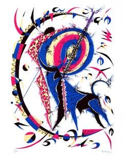Muleta - Original Lithograph by Raphael Alberti - 1970