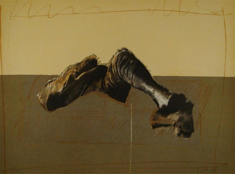 Rafael Canogar Print - RAFAEL CANOGAR: Figura en paisaje - Lithograph on paper Spanish conceptualism