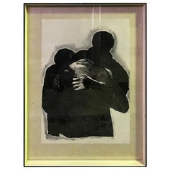 "Rafael Canogar Black and White Signed Limited Edition Lithograph ""EL Abrazo"""