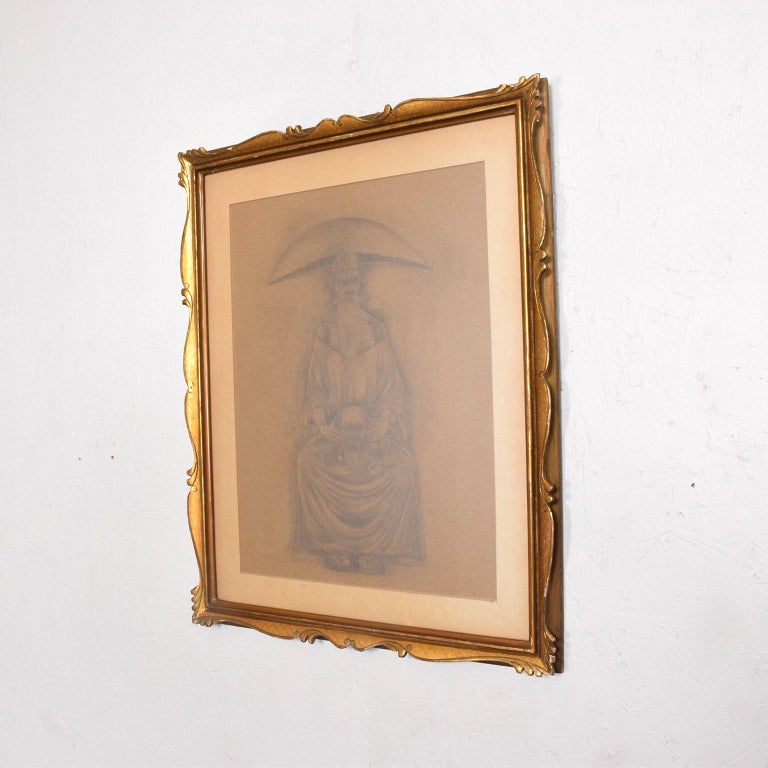 Rafael Coronel Drawing Pencil on Paper, Mounted Giltwood Frame For Sale 3