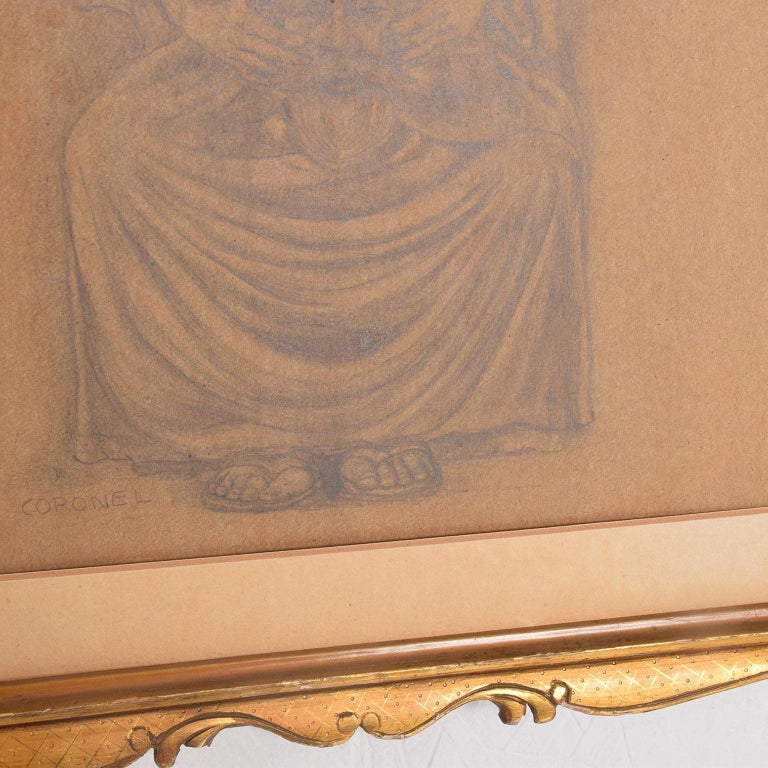 Rafael Coronel Drawing Pencil on Paper, Mounted Giltwood Frame In Good Condition For Sale In National City, CA
