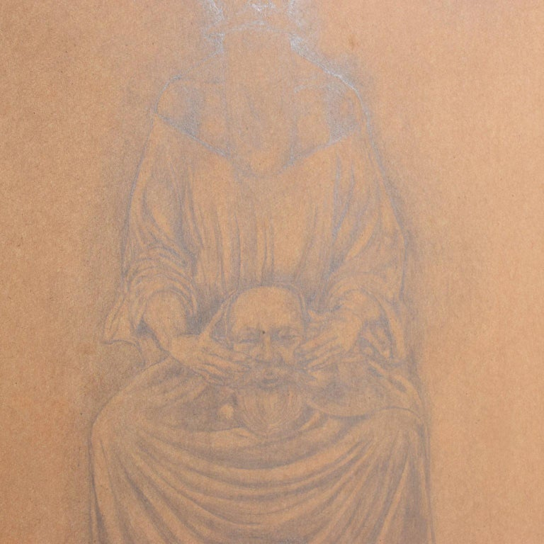 Mid-20th Century Rafael Coronel Drawing Pencil on Paper, Mounted Giltwood Frame For Sale