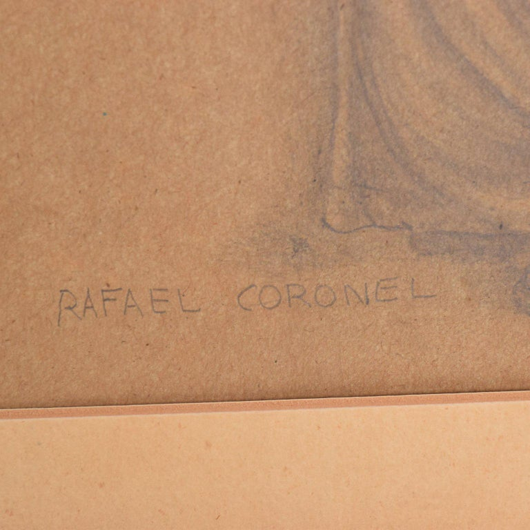 Rafael Coronel Drawing Pencil on Paper, Mounted Giltwood Frame For Sale 1