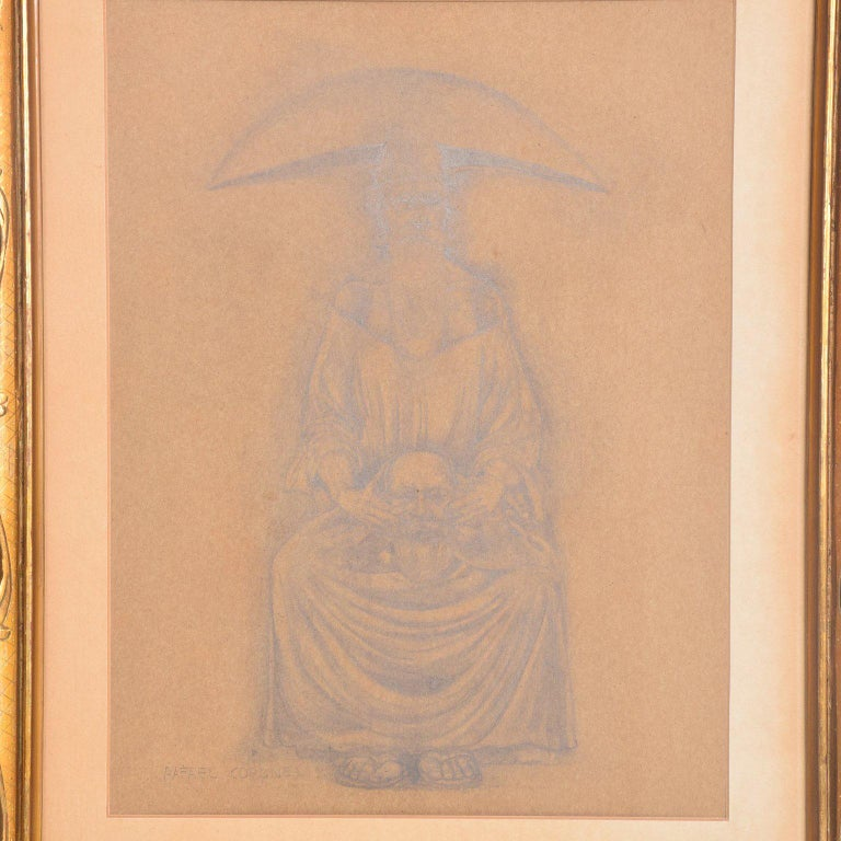 Rafael Coronel Drawing Pencil on Paper, Mounted Giltwood Frame For Sale 2