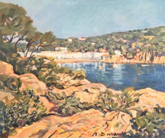 Landscape with lake oil painting seascape