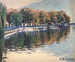 Sarnico d'Iseo lake Italy original oil painting