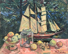 Still life with sailboat and fruits original oil painting