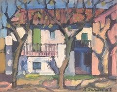 View of spanish village original oil painting