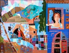Jerusalem Street Scene Israeli Naive Folk Art Mother Daughter Oil Painting