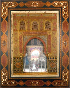 """""""Alhambra Facade Model"""", Early 20th Century Polychromed Stucco Plaque by R. Rus"""