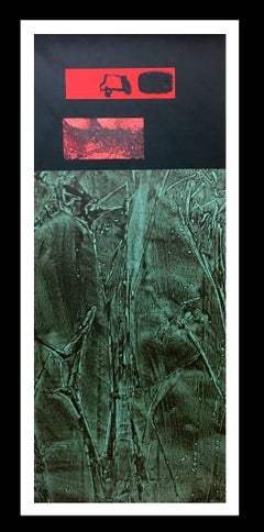 Green Colors black and red original abstract acrylic canvas painting