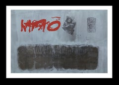 red grafism- original abstract acrylic painting