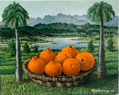 Oranges In The Basket Between Palm Trees