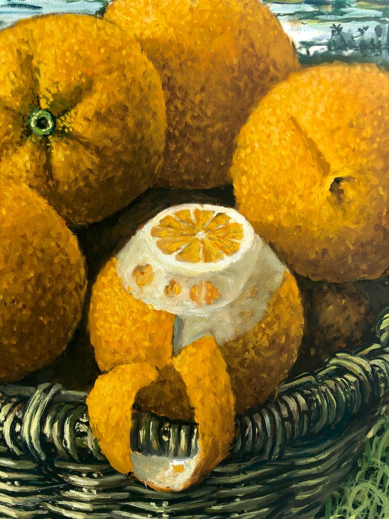 Still Life With Oranges In The Everglades - Painting by Rafael Saldarriaga