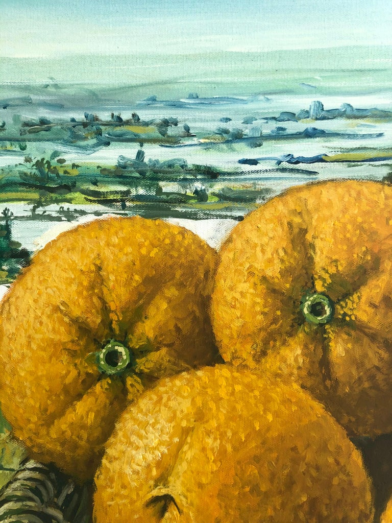Still Life With Oranges In The Everglades - Contemporary Painting by Rafael Saldarriaga