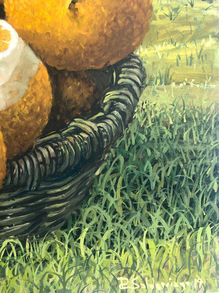 Still Life With Oranges In The Everglades - Brown Landscape Painting by Rafael Saldarriaga