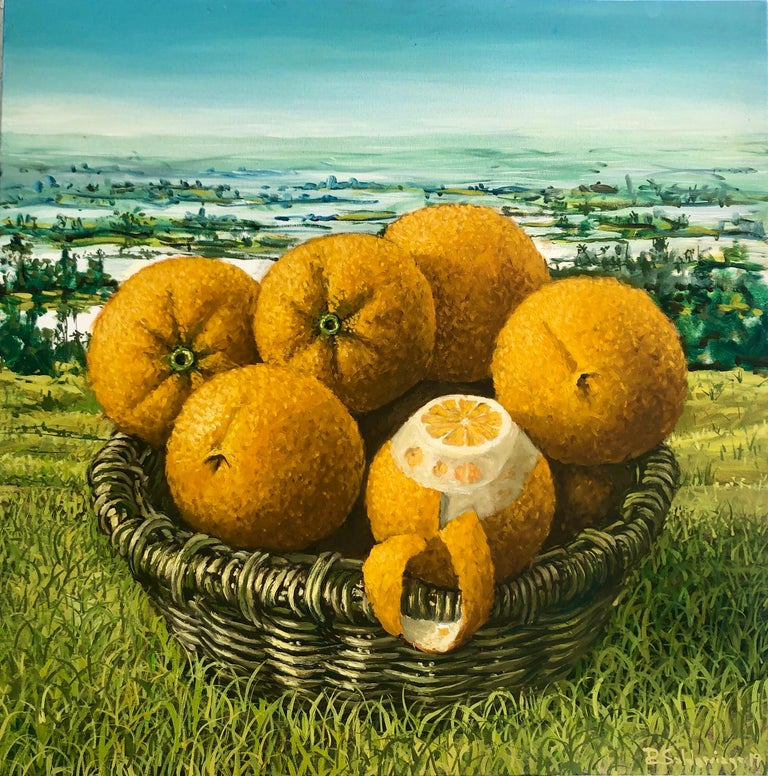 Oranges in the everglades oil painting. RAFAEL SALDARRIAGA was born in Medellin, Colombia in 1955. Arrived in the United States in 1993. After living in New Mexico and Hawaii established his residency in New York City. He studied in Live de