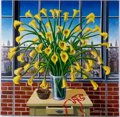 Yellow Lilys By The Window New York Large Still Life Oil Painting