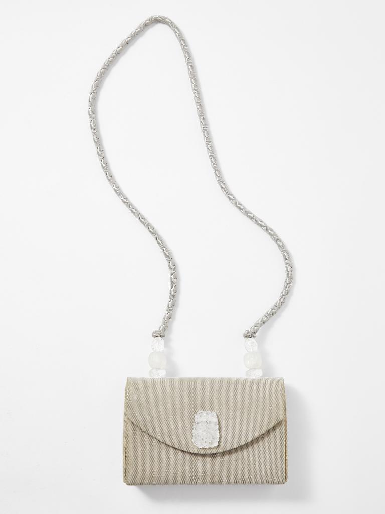 Beige Rafael Sanchez Pearlized Suede Evening Bag  For Sale