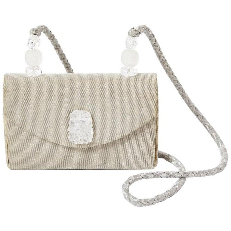 Rafael Sanchez Pearlized Suede Evening Bag  For Sale