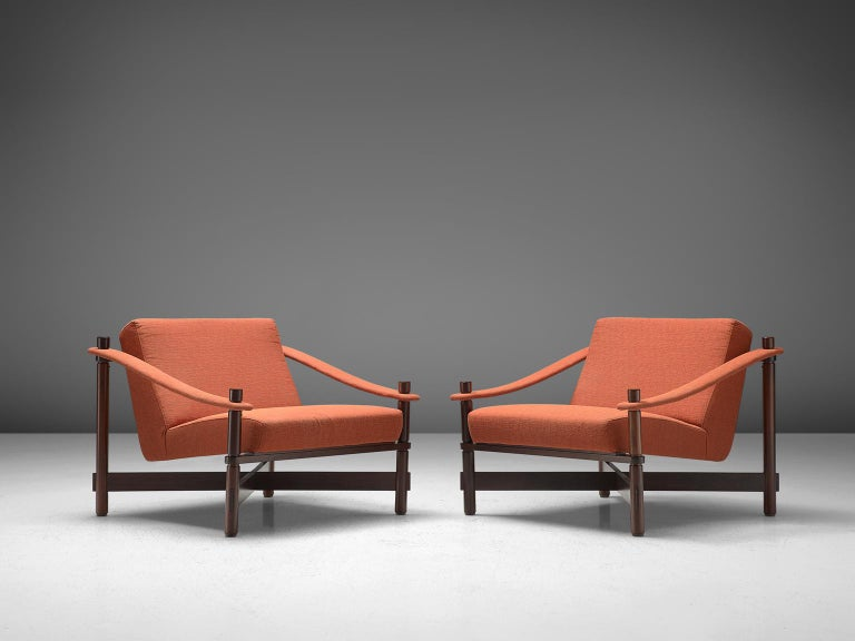 Rafaella Crespi, pair of lounge chairs, rosewood and fabric, Italy, 1960. 