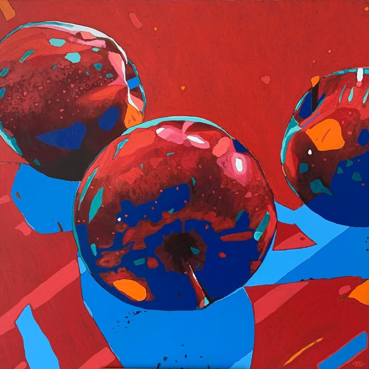 Apples 19 - Oil painting, Contemporary Figurative, Pop art, Still life