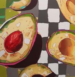 Avocado 02 - Contemporary Figurative Oil Painting, Still life, Pop art