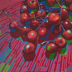 Cherries 07 - Contemporary Figurative Oil Painting Pop Art, Still life, Vibrant