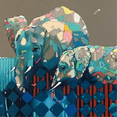 Elephants - XXI Century, Contemporary Figurative Oil Painting, Animals, Pop art
