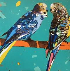 Parrots 05 - XXI Century, Contemporary Figurative Oil Painting, Animals, Pop art