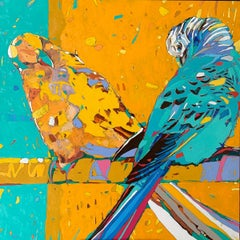 Parrots 06 - Contemporary Figurative Oil Painting, Animals, Pop art