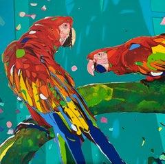 Parrots 07 - Oil painting, Contemporary Figurative, Pop art, Animals, Vibrant