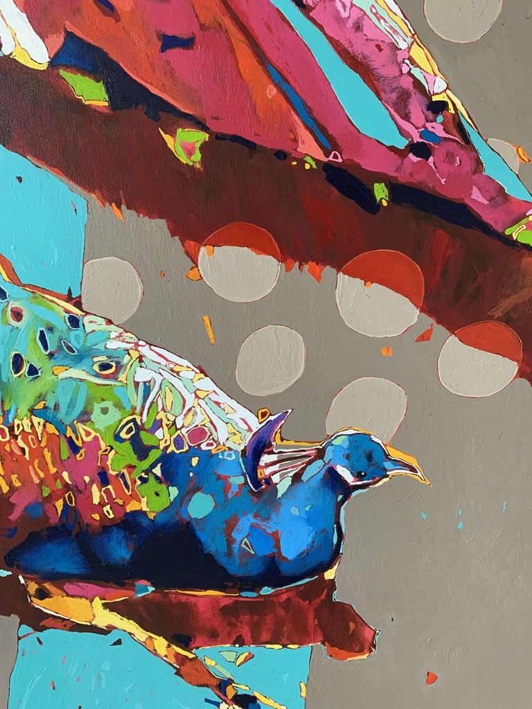 Peacocks - XXI Century, Contemporary Figurative Oil Painting, Animals, Pop art For Sale 2