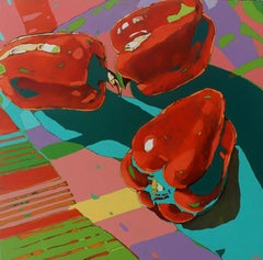 Peppers O2 - Contemporary Figurative Oil Painting, Still life, Pop art