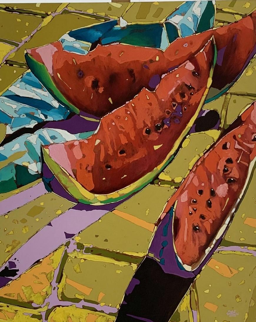 Watermelon 08 - Contemporary Figurative Oil Painting, Still life, Pop art