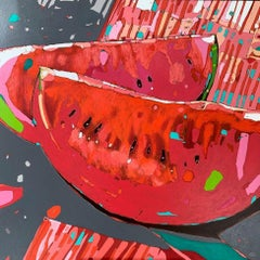 Watermelons 11 - Contemporary Figurative Oil Painting, Fruits Pop art Still life