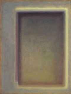 """Soglia"" raffaele cioffi abstract painting oil canvas blue violet amber italian"
