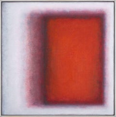"""""""Soglia Red"""" contemporary Italian abstract painting oil on canvas pink"""