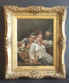 "Raffaele Frigerio Tavern Scene Oil Painting Entitled ""Flirtation"