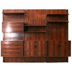 Raffaella Crespi System Bookcase in wood and brass by Mobilia, 1960s