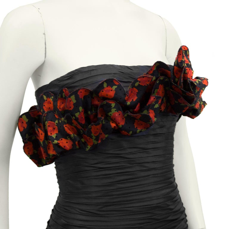 Raffaella Curiel 1980's Black Strapless Cocktail Dress with Roses For Sale 1