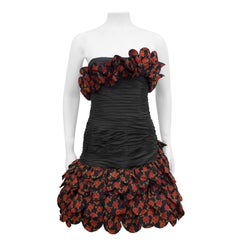 Raffaella Curiel 1980's Black Strapless Cocktail Dress with Roses