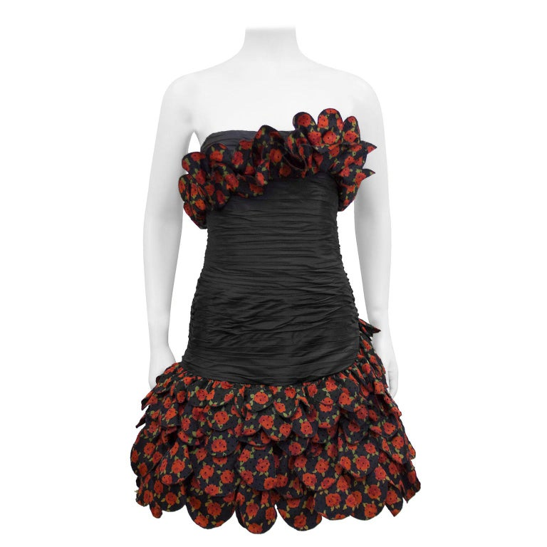 Raffaella Curiel 1980's Black Strapless Cocktail Dress with Roses For Sale