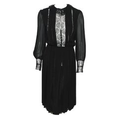 Raffaella Curiel Black Silk Pleated Cocktail Long Sleeve Dress