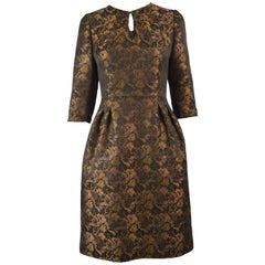 Raffaella Curiel Couture Black & Bronze Floral Jacquard Evening Dress, 1980s