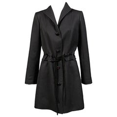 Raffaella Curiel Italian Light Weight Black Wool Coat Late 20th Century