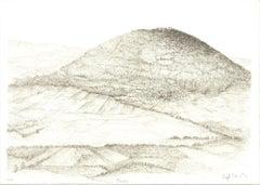 1982 Raffi Kaiser 'Hilltop Middle Earth' Black & White,Brown Lithograph